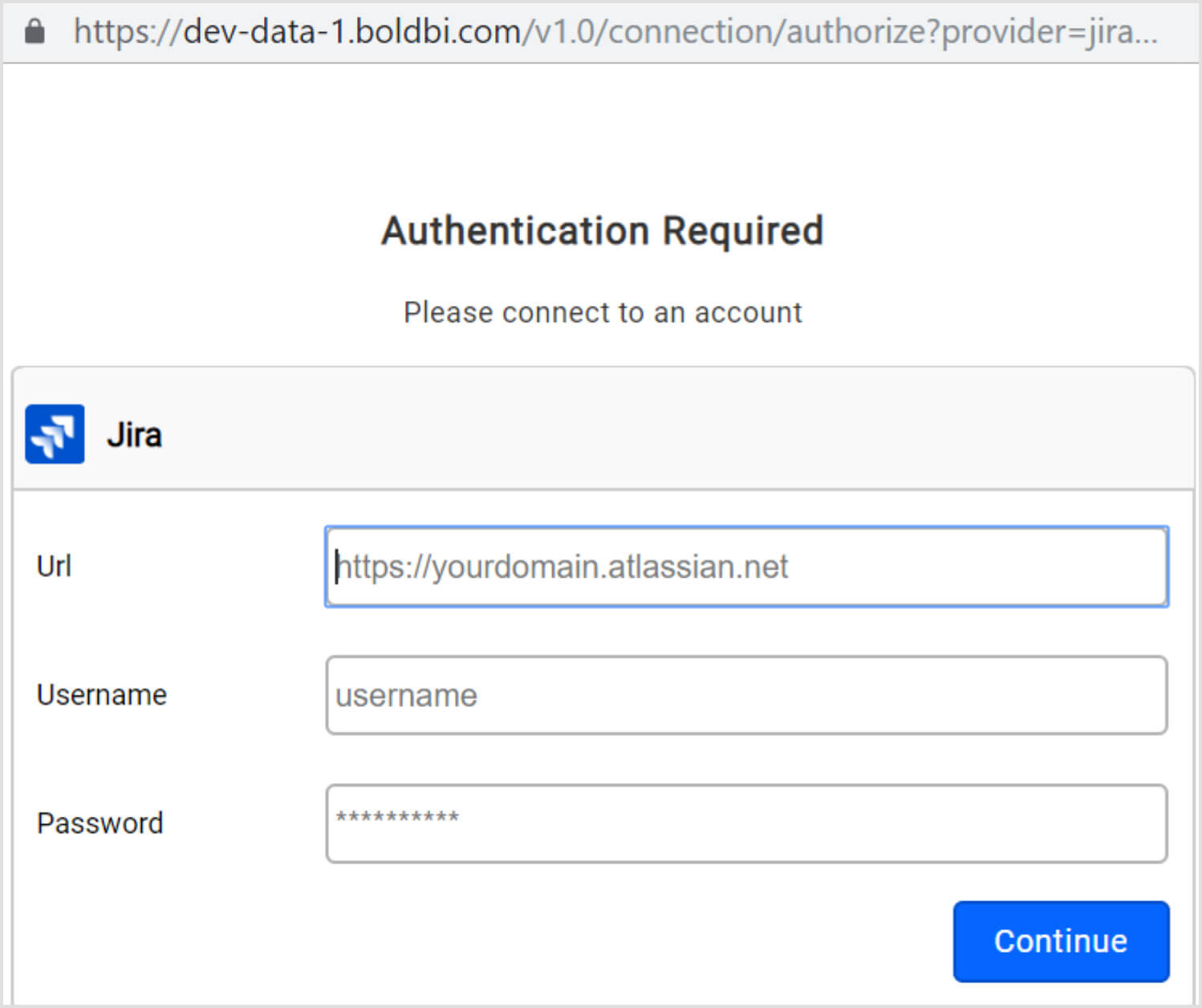 Authorization page for Jira connection