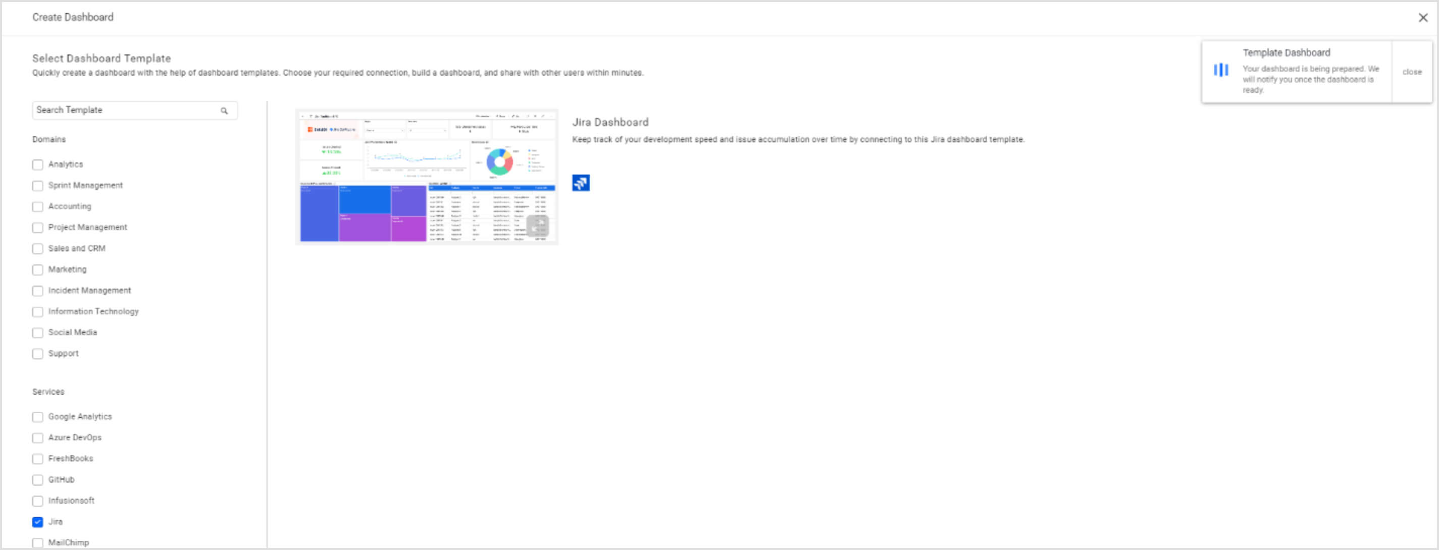 Jira dashboard template with notification banner showing progress