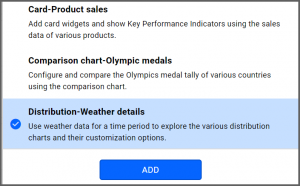 option to select Distribution-Weather Details data source from the sample data sources
