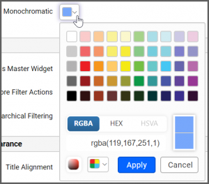 Color Type drop-down list box offers two options: Monochromatic (which is selected by default) and Range Color.