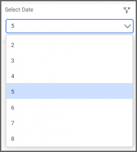 dashboard view allows to select the date range from the combo box