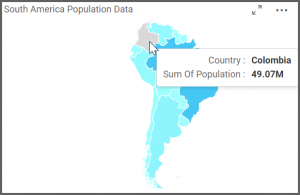 map view allows to see their population data of each country upon hovering