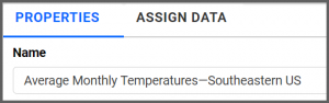option to rename properties tab to Average Monthly Temperatures—Southeastern US using the settings menu