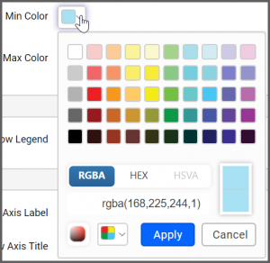 Max Color box popup allows to the change the color scheme of the map
