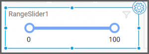option to drag the range slider onto the dashboard, rename it and assign data to it from the designer canvas