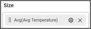 option to drag the Avg Temperature field to the Size box into the Assign Data tab of the settings menu