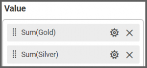 option to drag the Gold and Silver fields to the Values into the Assign Data tab of the settings menu