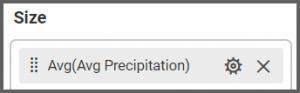 option to drag the Avg Precipitation field to the Size box into the Assign Data tab of the settings menu