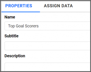 option to rename properties tab from the default Chart1 to Top Goal Scorers using the settings menu