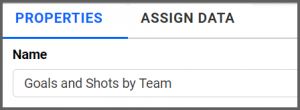 option to rename properties tab to Goals and Shots by Team using the settings menu