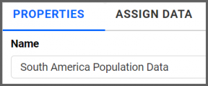 option to rename properties tab from BubbleMap1 to South America Population Data using the settings menu