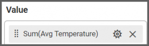 option to drag and set the Avg Temperature field to the Value
