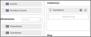 option to drag and set the TeamName field to the Columns into the Assign Data tab of the settings menu