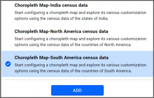 option to select Choropleth Map—South America Census Data data source from the sample data sources