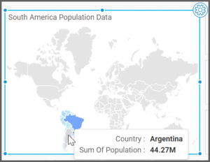 dashboard view shows the choropleth map of South America