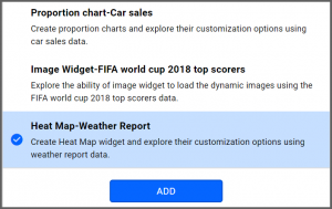 option to select Heat Map-Weather Report data source from the sample data sources