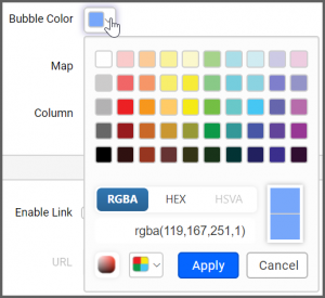 Bubble Color box popup allows to the change the color scheme of the map