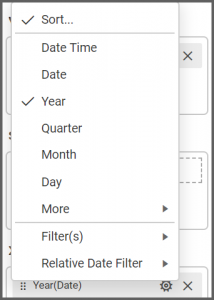 list of menu options allows to choose the date settings