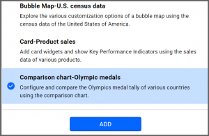 option to select Comparison Chart—Olympic Medals data source from the sample data sources