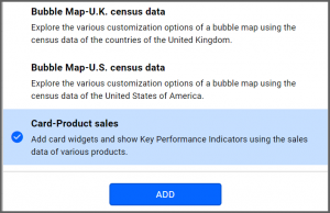 option to select Card—Product Sales data source from the sample data sources