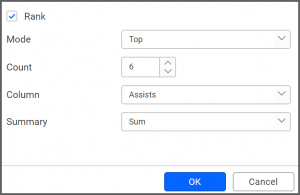 filter popup allows to configure the data to be filtered for the required widget