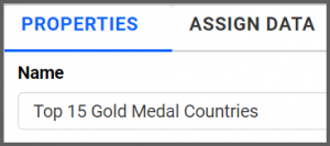 option to rename properties tab from TreeMap1 to Top 15 Gold Medal Countries using the settings menu