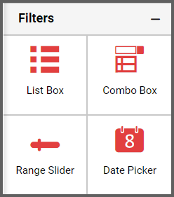 option to drag and set the range slider from the Filters section into the designer canvas