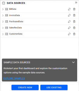 data sources listing in data sources panel in Bold BI dashboard platform