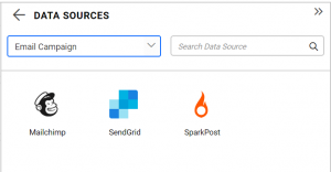 supported data connections under email campaign category for the illustration of sendgrid data connection for tracking mail stats in Bold BI dashboards