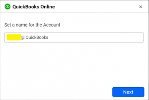 accounts window to connect to quickbooks online from Bold BI dashboards