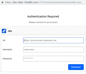authorization window for jira connection with Bold BI Dashboards