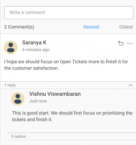 Comments panel in the dashboard