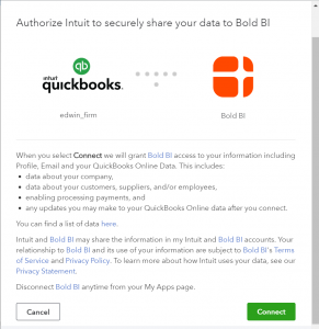 information sharing confirmation page for quickbooks online connection from Bold BI dashboards.