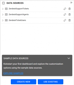data sources panel listing all zendesk data sources in Bold BI dashboards