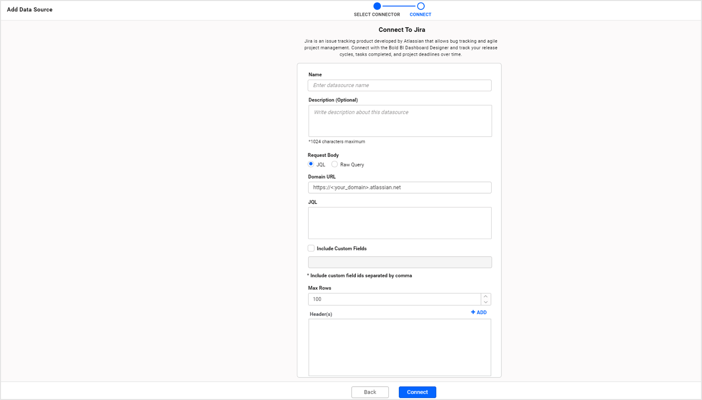 Native connector for JIRA application