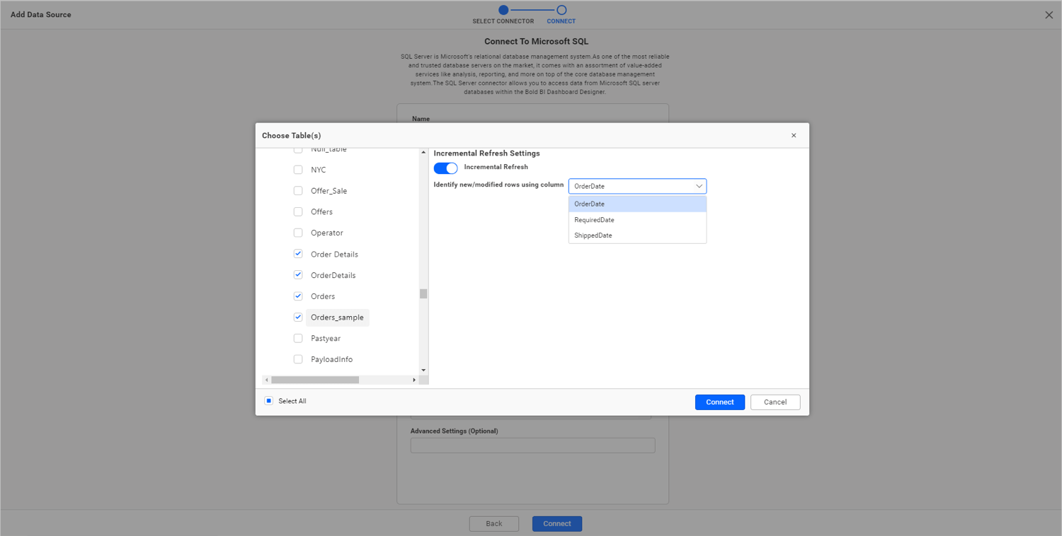 Configuring incremental refresh settings for extract mode
