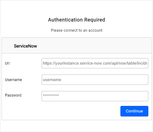 Authorization Page for ServiceNow Connection