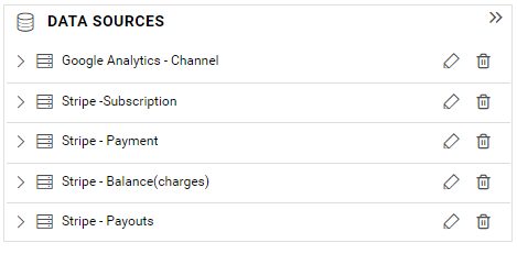 Data source panel listing all data sources