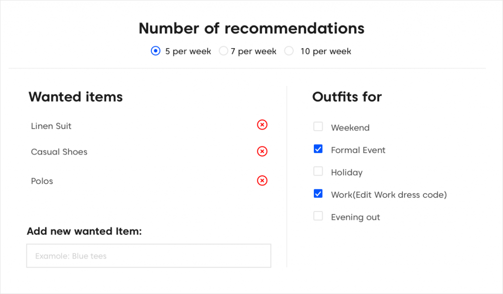 Recommendation engine configurable by the customer
