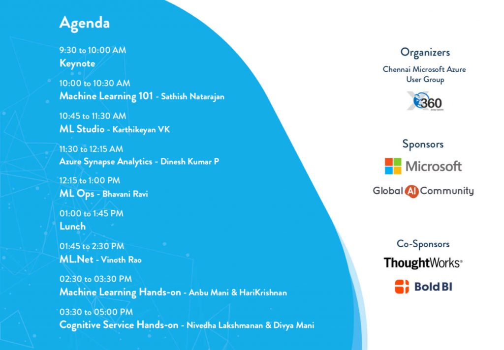 Agenda of Global AI Bootcamp event at Chennai 2019