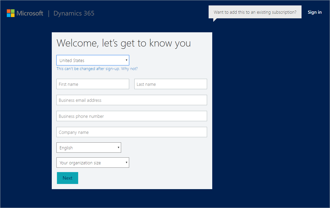 Microsoft Dynamic CRM Sign Up Page
