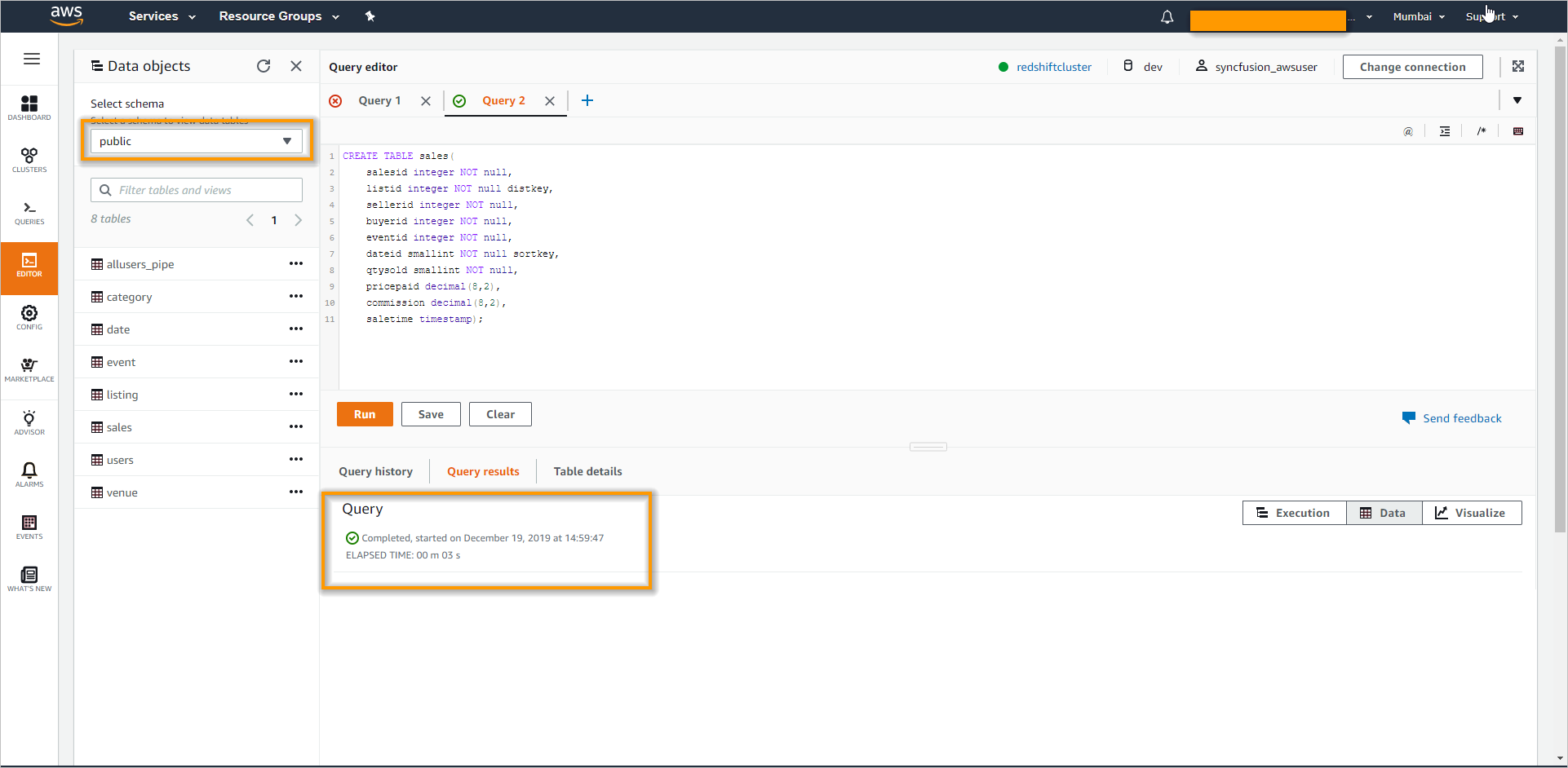 Query editor in Amazon Redshift