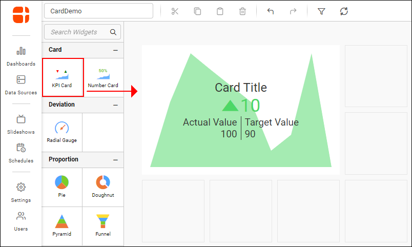 Drag and Drop the KPI Card Widget to Configure it in the Designer Canvas.