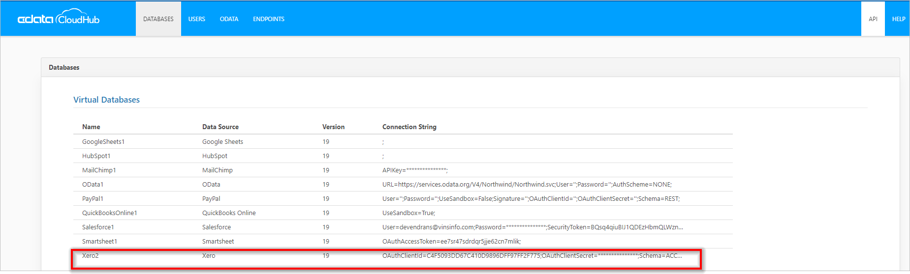 Showing Available Databases in CData Cloud Hub