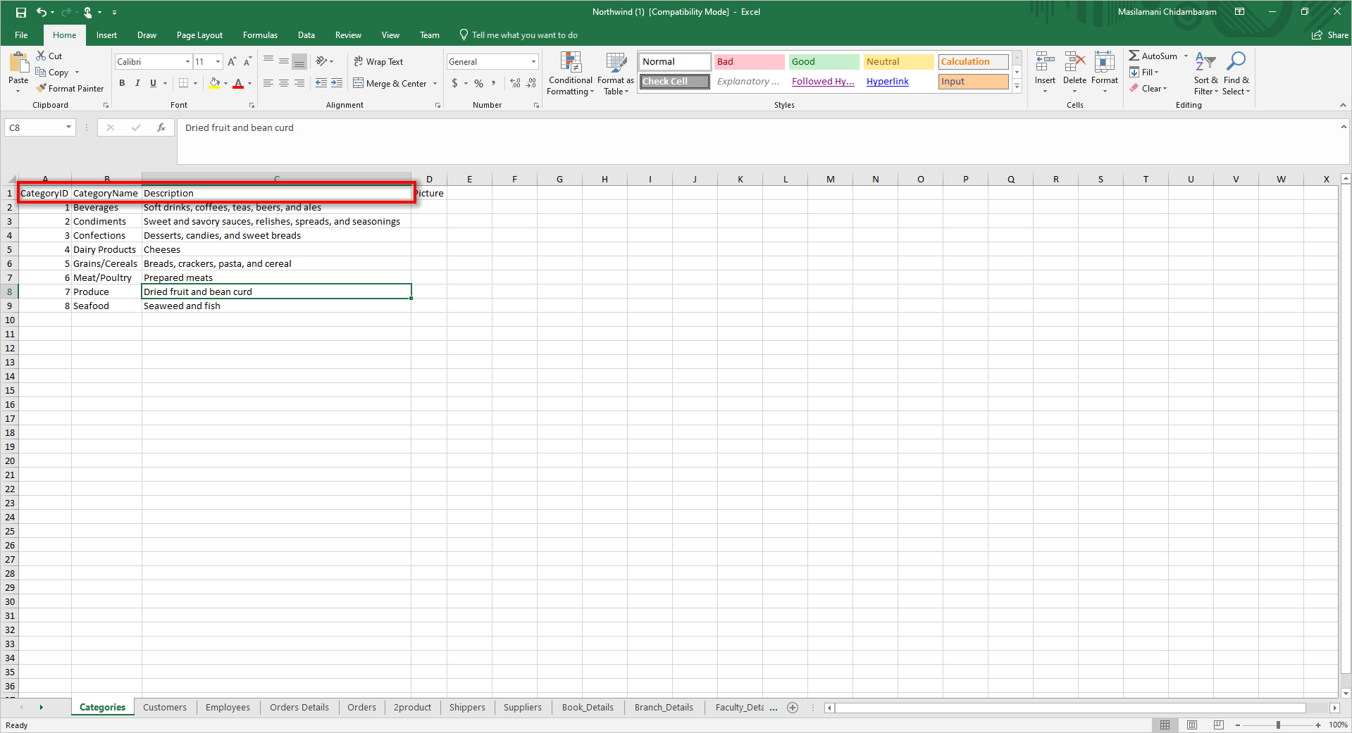 Structured Excel workbook