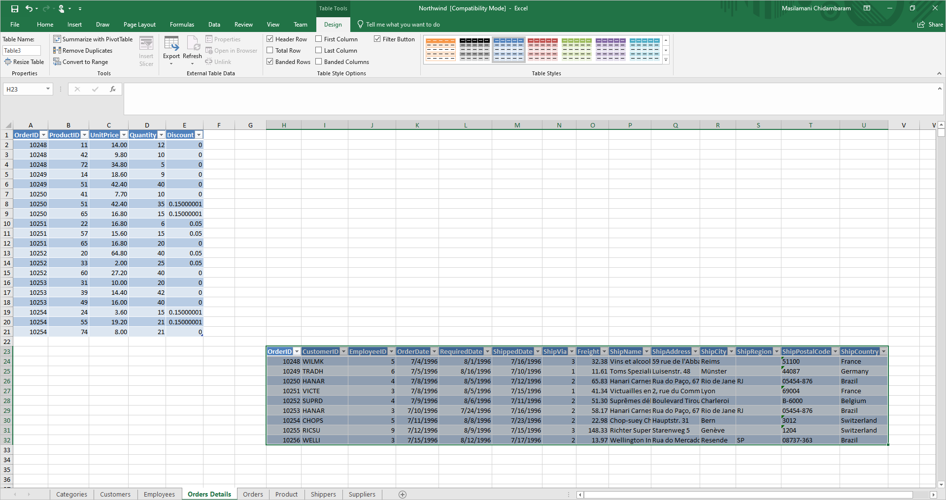 Excel workbook—multiple tables in one sheet