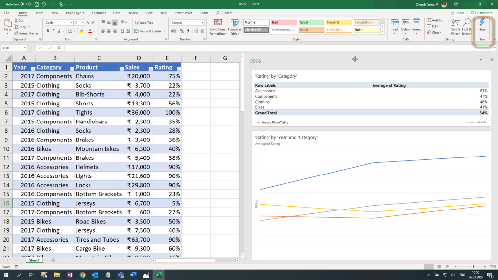 Ideas in Excel empowers you to understand your data through high-level visual summaries, trends, and patterns.