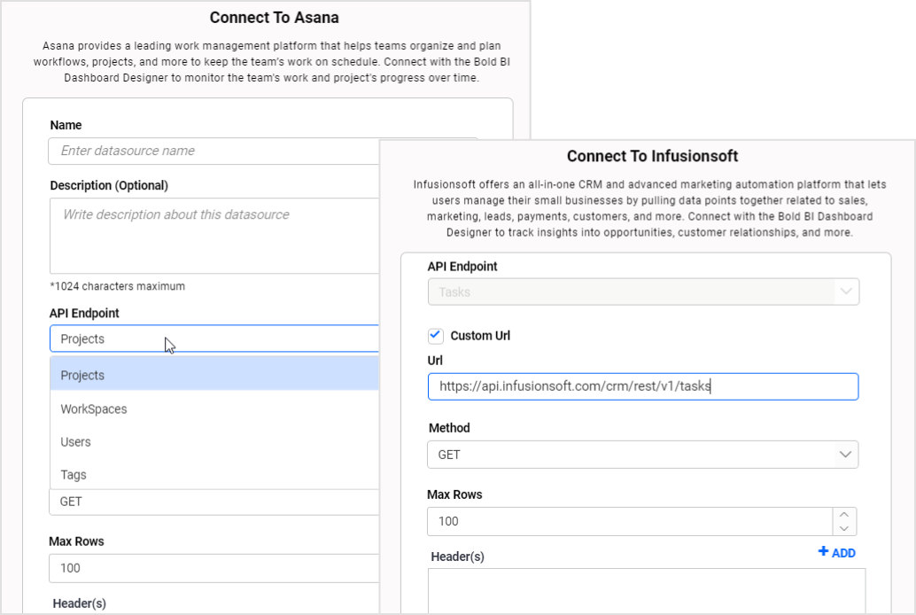 usability improvements in asana and infusionsoft connection windows