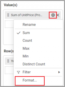 Pivot grid - Settings menu display