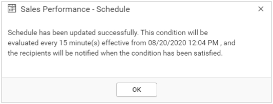Data Alert Scheduled Confirmation Dialog